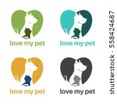 template logo design with dog... | Shutterstock .eps vector #558424687