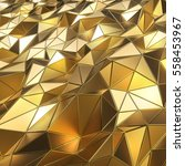 shiny golden polygon surface 3d ... | Shutterstock . vector #558453967
