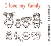 i love my family. happy family... | Shutterstock .eps vector #558454507