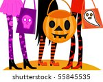 halloween trick or treaters | Shutterstock . vector #55845535