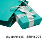 Gift bag and gift box - stock photo