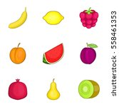fruit icons set. cartoon... | Shutterstock .eps vector #558461353