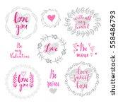 set of doodle floral frames... | Shutterstock .eps vector #558486793