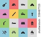 set of 16 editable travel icons.... | Shutterstock .eps vector #558487723