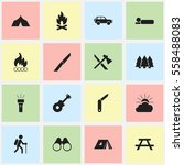 set of 16 editable camping... | Shutterstock .eps vector #558488083