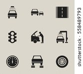 set of 9 editable traffic icons.... | Shutterstock .eps vector #558489793