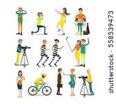 vector set of photographers ... | Shutterstock .eps vector #558539473