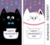 black white cat couple with bow.... | Shutterstock .eps vector #558555997