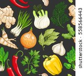 vector vegetable seamless... | Shutterstock .eps vector #558566443
