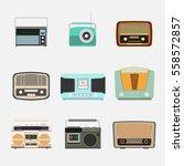 retro radio icon vector | Shutterstock .eps vector #558572857