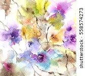 floral pattern. watercolor... | Shutterstock . vector #558574273
