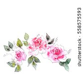 greeting card with watercolor... | Shutterstock . vector #558575593