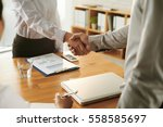 business partners shaking hands ... | Shutterstock . vector #558585697