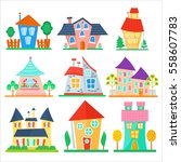 cute cartoon houses collection. ... | Shutterstock .eps vector #558607783