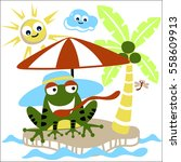 frog spend his summer time in... | Shutterstock .eps vector #558609913