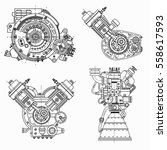 a set of drawings of engines  ... | Shutterstock .eps vector #558617593