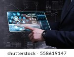 Small photo of Business, Technology, Internet and network concept. Young businessman working on a virtual screen of the future and sees the inscription: access control