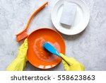 concept of woman washing dishes ... | Shutterstock . vector #558623863