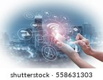 double exposure of businessman... | Shutterstock . vector #558631303