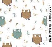 cute vector owl  | Shutterstock .eps vector #558661387