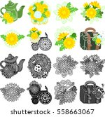 the cute icons of dandelion...   Shutterstock .eps vector #558663067
