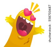 cartoon yellow blob monster in... | Shutterstock .eps vector #558703687