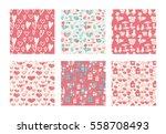 vector set of seamless hand... | Shutterstock .eps vector #558708493