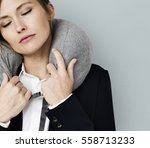 caucasian woman travel pillow... | Shutterstock . vector #558713233