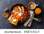 english breakfast in pan with