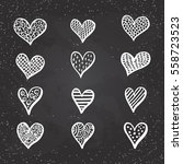 hand drawn hearts set for... | Shutterstock .eps vector #558723523