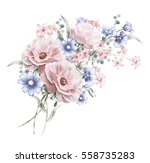 Stock photo watercolor flowers floral illustration in pastel colors rose bunch of pink blue flowers 558735283