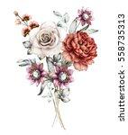 watercolor flowers. floral... | Shutterstock . vector #558735313