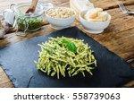 trofie pasta with vegetarian... | Shutterstock . vector #558739063