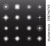 glowing lights and stars on... | Shutterstock .eps vector #558746743