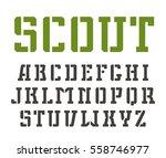 stencil plate slab serif font... | Shutterstock .eps vector #558746977