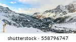 panorama of breuil cervinia ski ... | Shutterstock . vector #558796747