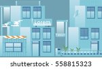 flat design urban street with... | Shutterstock .eps vector #558815323