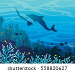 blue coral reef with fishes and ...