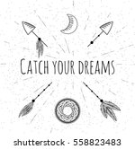 hand drawn arrows  dreamcatcher ... | Shutterstock .eps vector #558823483