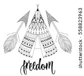 hand drawn american native... | Shutterstock .eps vector #558823963