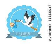 cute stork and baby boy... | Shutterstock .eps vector #558830167