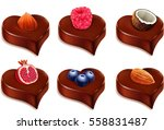 chocolate heart candy with... | Shutterstock .eps vector #558831487