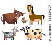 the cartoon farm animals set in ...   Shutterstock .eps vector #558834307