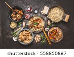 asian food cooking. wok with... | Shutterstock . vector #558850867