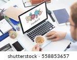gears and feedback mechanism on ... | Shutterstock . vector #558853657
