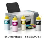 cmyk ink filling bottles and... | Shutterstock . vector #558869767