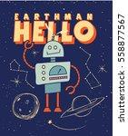 robot. vintage cute spaceman... | Shutterstock .eps vector #558877567