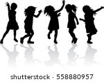 silhouette of children playing. | Shutterstock .eps vector #558880957