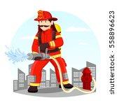 fireman in helmet near hydrant... | Shutterstock .eps vector #558896623