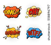 omg and oh  wtf and bam bubble... | Shutterstock .eps vector #558896797